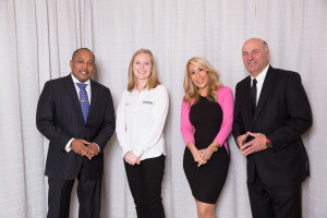 Right to left: Daymond John, Rachel Brutosky (Nilfisk National Sales Manager), Lori Greiner, Kevin O'Leary